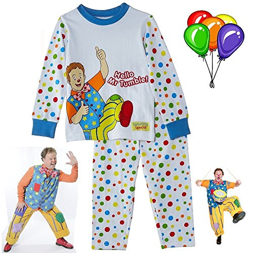 BBC-Something-Special-Hello-Mr-Tumble-Children-Kids-Baby-Spotty-Pyjamas-Suit-Cbeebies-TV-Show-T-Shirt-with-Trousers-Night-and-Summer-Clothes