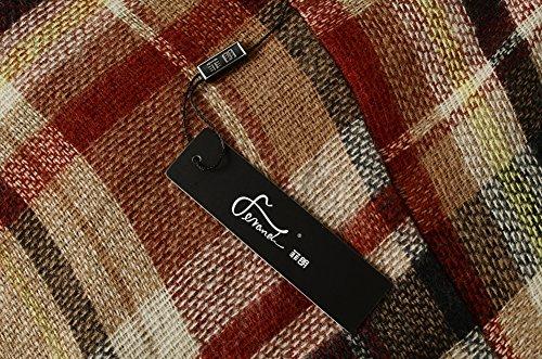 Ferand Leichter Karierter Cape Poncho Umhang Vausschnitt im Strickdesign für Frauen Khaki & Gelb
