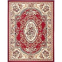 grand tapis de salon rouge parfait pour la chambre design classique motif - Tapis Oriental Rouge