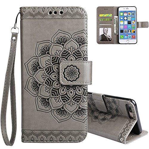 Aeeque portafoglio iphone 6s plus originale modello mandala fiori grigio custodia in pelle elegante disegno a libro copertura supporto flip porta carte magnetica protettivo rigida cover per iphone 6 plus/6s plus 5.5