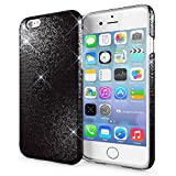 NALIA Handyhülle für iPhone 6 6S, Glitzer Slim Hard-Case Back-Cover Schutz-Hülle, Handy-Tasche im Glitter Sparkle Design, Dünnes Bling Strass Etui Skin für Apple iPhone-6S 6 Smartphone - Schwarz