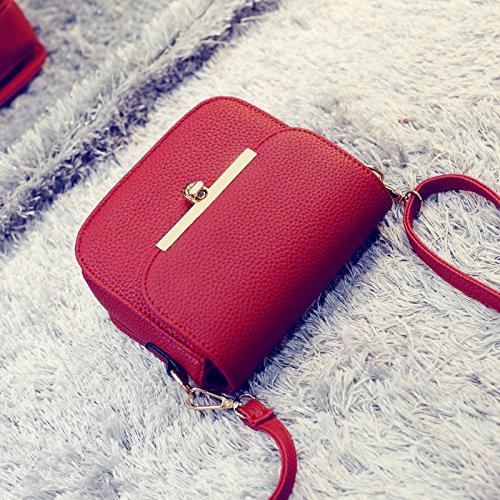 LiZhen la nuova marea di moda coreana ladies borse messenger minimalista partito piccole confezioni a spalla un cross-Mini Bundle, vino rosso Vino rosso