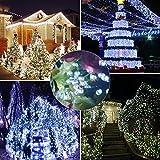 Samoleus 200 LED 22M Luci Della Stringa Di Natale, Catene Luminose da Esterno IP44 Impermeabile per Di Natale Luci, Matrimonio,Festino (Bianco-200 LED 22M)