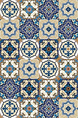 Arredo Carpet Teppich Läufer aus Vinyl für Küche und Bad mit Maioliche Azulejos blau in Roma Muster 50_x_300_cm -