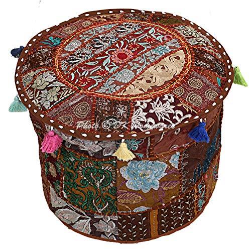 Puff Schaukelstuhl (DK Homewares Indischer runder Hocker Fußhocker Braun Patchwork Bestickte Baumwolle Wohnzimmer Dekorative Osmanische Fußstütze Sitzhocker Sitzfläche | (16x16x13 Zoll / 40 cm) NUR ABDECKEN)