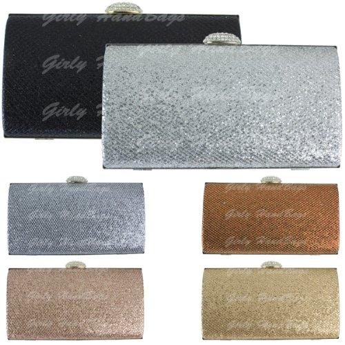 Girly HandBags de noce de diamant d'étincelle de soirée d'embrayage de sac métallisé Or Argent Blanc