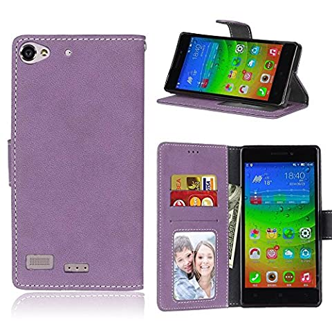 Lenovo Vibe X2 Case Leather, Ecoway Retro Scrub PU Leather Stand Function Protective Cases Covers with Card Slot Holder Wallet Book Design for Lenovo Vibe X2 - purple