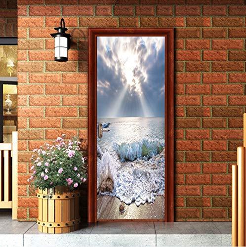 Romantik Sonnenschein Skyrim Und Meer Tür Aufkleber Für Küche Wohnzimmer Kühlschrank Dekoration Wand Wohnkultur 77X200 cm