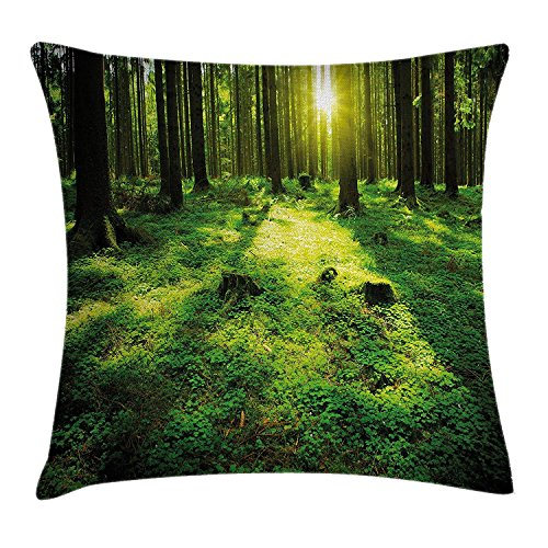 GONIESA Green Decor Throw Pillow Cushion Cover, Morning in The Misty Summer Forest with Sun Rays Digital Print, Decorative Square Accent Pillow Case, 18 X 18 inches, Forest Green and Yellow
