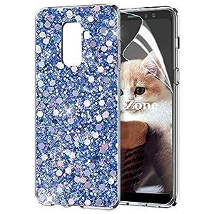 OKZone Galaxy A8 2018 Hülle [mit HD-Schutzfolie], Glitzer Bling Design Weich TPU Bumper Case Silikon Schutzhülle Handy Tasche Rückseite TPU Bumper Schale für Galaxy A8 2018 (Blau)