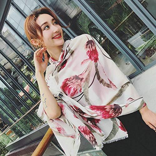 Lxj Schal Sommer Baumwolle Hanf Schal Sonnenschutz nationalen Frühlingswind weibliche floral Print Seide Schal Schal 180 * 100cm -
