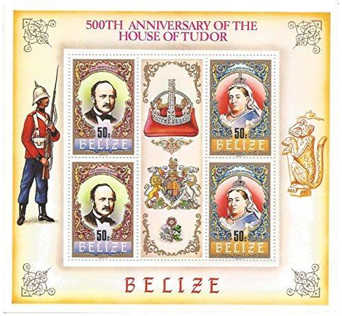 500 ° anniversario della casa di tudor foglio di francobolli da collezione con il principe alberto e la regina vittoria / 4 francobolli mnh / belize / 1984