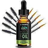 Bio-Rizinusöl, Kaltgepresst, Reines Rizinusöl für Haare, Wimpern, Augenbrauen, Haut, Haarwuchs und Gesicht mit 5 Augenbrauen-