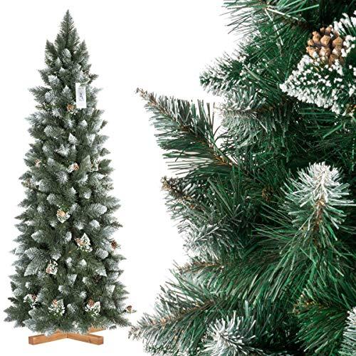 FairyTrees Artificiale Albero di Natale Slim, Pino innevato Bianco Naturale, Materiale PVC, Vere pigne, incl. Supporto in Legno, FT09 (180cm, Pino Slim innevato Bianco Naturale)