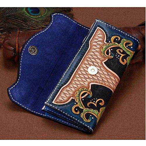 Xiaopangzi main Porte-monnaie en cuir véritable Portefeuille Sculpté Wallet Floral pour les filles et les femmes (A) D