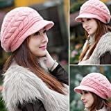 #5: DELHI TRADERSS Women's Winter Baggy Knit Crochet Fur Slouch Skullies & Beanies (Pink)