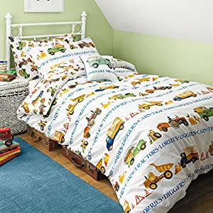 Singolo Reversibile Men at Work Stampa Kids Set di biancheria da letto – Trattori/cartamodello di auto doble multicolore