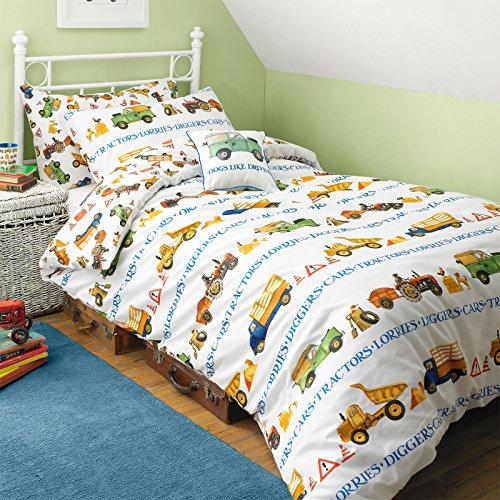 Reversibile unico uomo al lavoro stampato set biancheria da letto per bambini, motivo Cars/Trattori, 100% Cotone, Multi,
