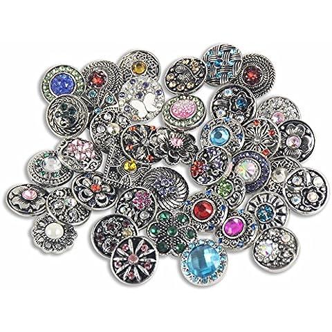 Soleebee mezclado al azar aleación de 12mm Rhinestone Snap botones joyas encantos DIY accesorios