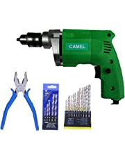 CAMEL BRAND 10mm Electric Drill Machine with 13Pcs Metal/Wood Drill Bit & 5Pcs Wall bit & 1Pc Piler (copper motor)