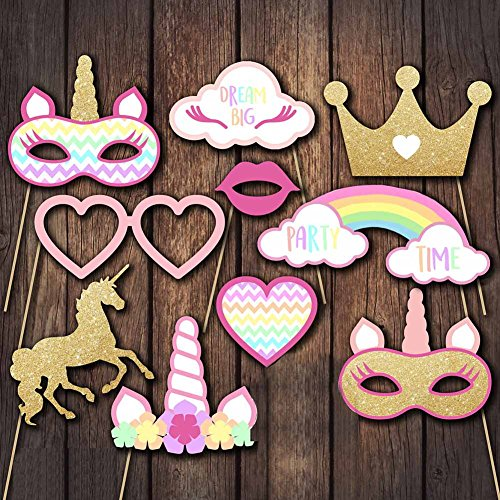 en & Fotoaccessoires Einhorn Foto Booth Props Photo Booth DIY Photo Props Kit für Hochzeit, Reunion, Geburtstage, Prop Dress-up, Zubehör, Party Deko und Party Favor (10 Pack) (Unicorn Party Supplies)