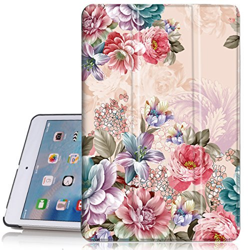 iPad Mini 2Hülle, iPad Mini 3Fall, hocase Blumen Design PU Leder Folio Smart Fall w/Unikat, Auto Sleep/Wake-Funktion, Mikrofaser Futter Hartschale für iPad Mini 1/2/3, Pfingstrose