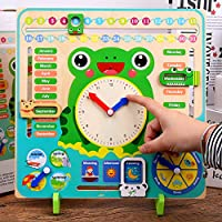 LbojailiAi Wooden Clock Cognitive Board Kids Educational Toy Calendar Weather Season Month