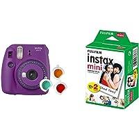 Fujifilm Instax Mini 9 Purple Fotocamera per Stampe, Formato 62 x 46 mm, Viola & Instax Mini Film, Pellicola istantanea…