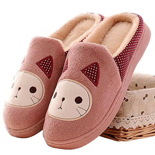 Minetom-Otoo-Invierno-Mujer-Felpa-Zapatillas-Pantuflas-Cartoon-Gato-Suave-Zapatilla