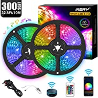 WiFi LED Strip Lights, 10M Waterproof 300 LEDs Smart Rope Lights RGB 5050 Color Changing Music Sync, Voice Control Compatible with Alexa Echo, Google Assistant, Decoration for Kitchen Wedding Party