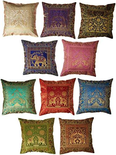 10PC Viel Silk Home Decor Kissenbezug, quadratisch, Indian Silk Brokat Kissenbezug, handgefertigt Banarsi Kissenbezug 40,6x 40,6cm die ethnischen Crafts (Indian Home Decor)