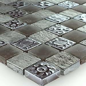 Vetro Pietre Naturali Mosaico Piastrelle Grigio 23 X 8 Mm