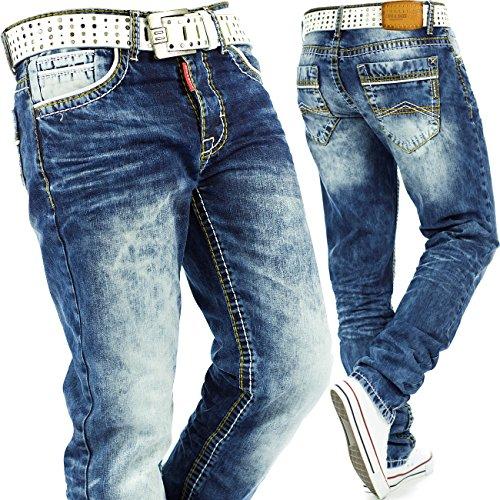 Cipo & Baxx Herren Jeans Mens Pants Freizeit-hose Clubwear Dicke Naht inkl. Tasche Blau