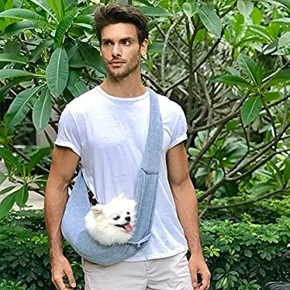 Buyger Reversible Pet Sling Carrier Hand free Puppy Cat Carrier Single Shoulder Bag (Grey) 7