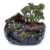T4U 23CM Micro Landschaft Stil Harz Kunststoff Sukkulenten Töpfe Kaktus Pflanze Töpfe Mini Blumentöpfe Haus&Stein Grau
