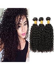 Tissage Bresilien Meche Bresilienne Bouclé Kinky Extension Cheveux Naturel Noir - Grade 7A Brazilian Human Hair...