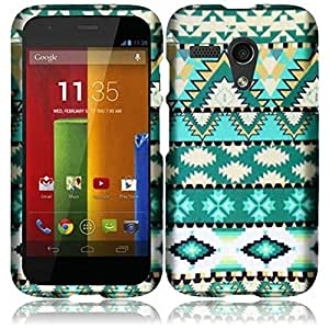 HR Wireless Motorola Moto G Rubberized Protective Cover - Retail Packaging - Mint Green Aztec