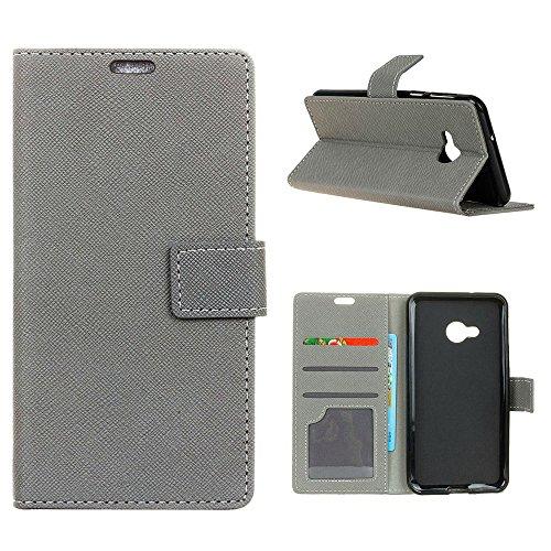 """MOONCASE HTC U Play Flip Case, Card Slot Holster Brieftasche Dauerhaft TPU Stoßfest Ständer Schutzhülle Handy Cover für HTC U Play 5.2"""" Grau"""