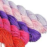 Totally Beads Ltd Satin 1mm Rattail Schnur–5stück Farben–10Meter von jeder Farbe–Pink Mix