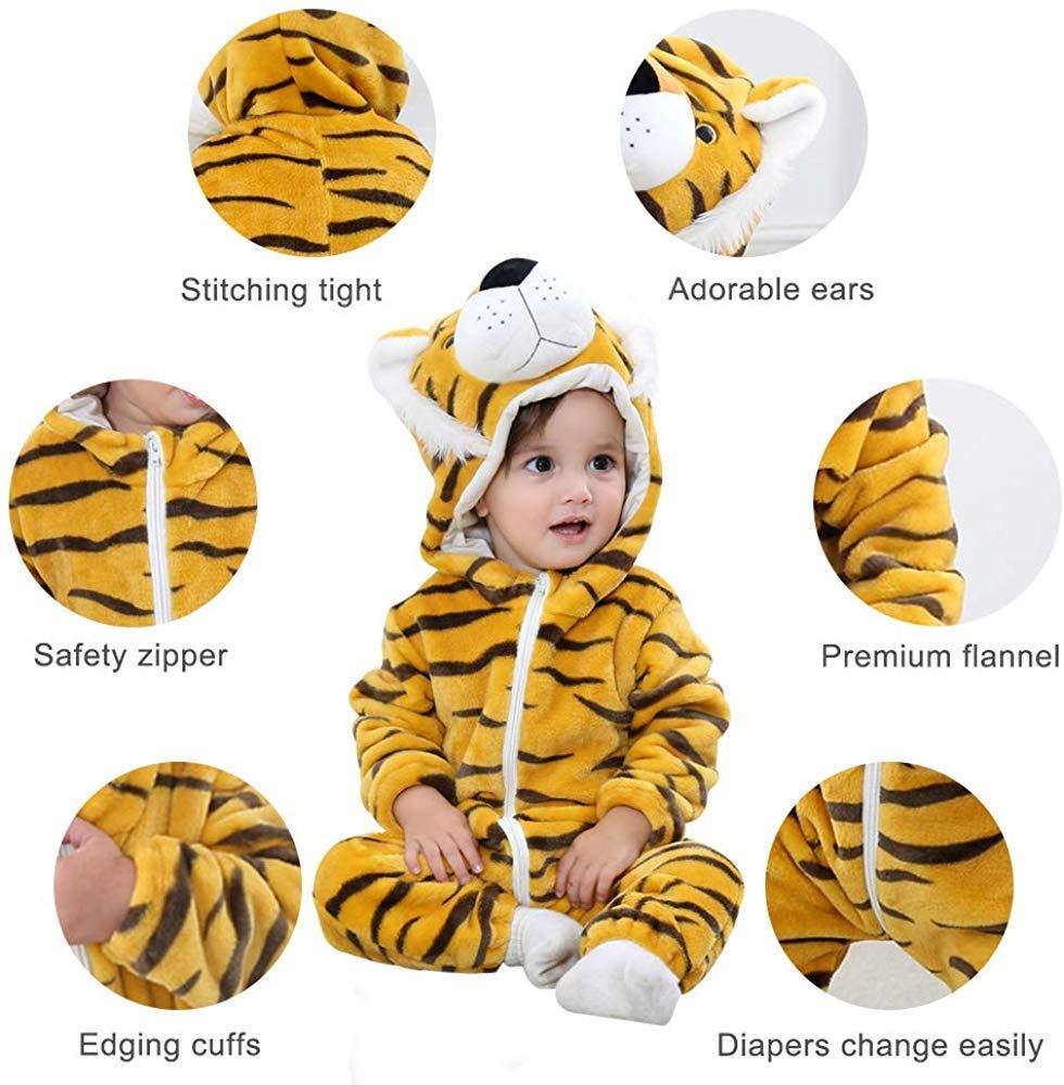 Bebé Ropa Mameluco Niños Niñas Pelele Pijama de Primavera y otoño Franela Traje de Animales 4