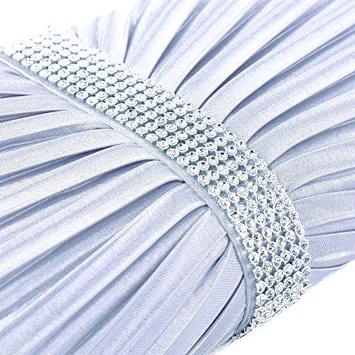 Clasichic Damen Frauen Party Hochzeit Clutch Strassstein Abendtasche elegant Handtasche (Navz Blau) Silber