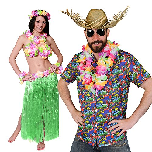 Für Paare Roll Rock Kostüm And - ILOVEFANCYDRESS Hawaii KAPITÄN=Paare KOSTÜM Verkleidung= 5 GRÖSSEN=BASTROCK 80 cm Lang+ Hula BH+ Lei Sets+Hawaii Hemd + Beachcomber Strohhut +Brille =Medium + BASTROCK -GRÜN