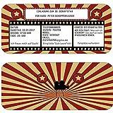 Einladungskarten als Kinokarte Eintrittskarte Ticket Geburtstag Party Feier für Erwachsne oder zumKindergeburtstag Kino Film Popcorn 30 40 50