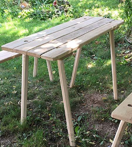 Schmaler Holztisch zum stecken, gerade Kanten zum stecken, aus Eiche 25-30 mm mit 8-kantigen Beinen, 115 cm lang für Larp, Reenactor, Tavernenbestuhlung