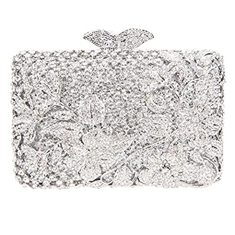 Bonjanvye Flower Kisslock Purses with Crystal Rhinestones Evening Clutch Bag Silver