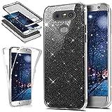 Kompatibel mit LG G5 Hülle Schutzhülle,Full-Body 360 Grad Bling Glänzend Glitzer Klar Durchsichtige TPU Silikon Hülle Handyhülle Tasche Front Back Double Beidseitig Cover Schutzhülle für LG G5,Schwarz