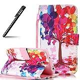 BtDuck Case für Samsung Galaxy S4, Rosa Hülle Handyhülle PU Leder Tasche Case Bunt Schmetterling Brieftasche Etui Hülle Schutzhülle Galaxy S4 Silikon