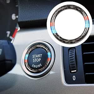 Rubyu Ringrahmen Für Key Start Stop Knopf Carbon Faser Ring Zündschlüssel Ring Aufkleber Zubehör Für Bmw 3er E90 E92 E93 Auto
