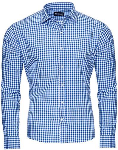 Reslad Herren Hemd Slim Fit Bürohemd Männerhemd Karohemd Männer Blau Weiß Kariertes Hemd Herren Bügelfrei RS-7007 Blau M
