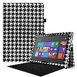 Fintie Microsoft Surface Pro 3 Hülle Case - Hochwertige Kunstleder Slim Fit Stand Tasche Schutzhülle Etui Cover mit Stylus-Halterung für Microsoft Surface Pro 3 12, Houndstooth Schwarz